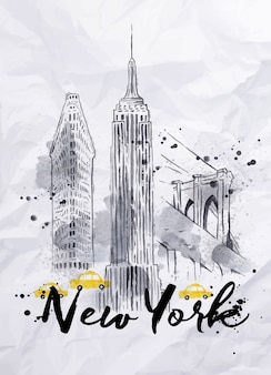 Acuarela edificios de nueva york