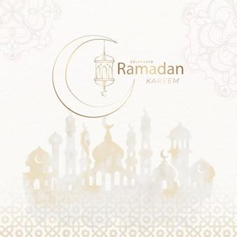 Acuarela eid mubarak con mezquita y luna