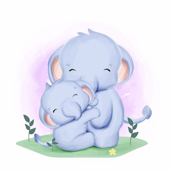 Acuarela elefante madre y bebé