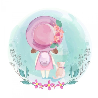 Acuarela en encantadora niña y gato en la ilustración.