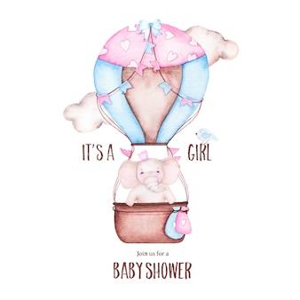 Acuarela es baby shower de niña con lindo globo aerostático con elefante