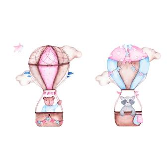Acuarela es baby shower de niño con lindo globo aerostático con mapache oso
