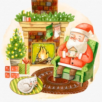 Acuarela escena de chimenea de navidad