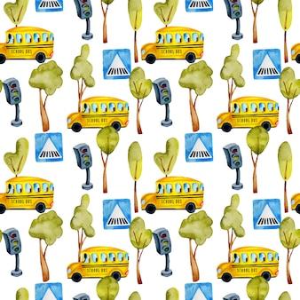 Acuarela escolar de patrones sin fisuras de autobuses