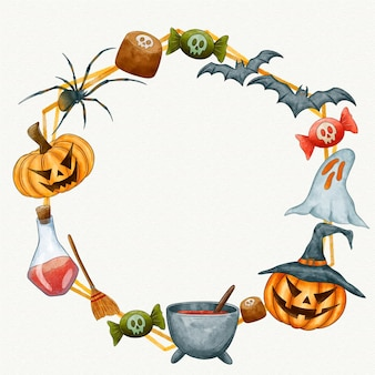 Acuarela espacio de copia de marco de halloween