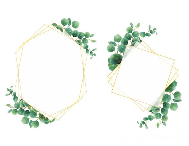 Acuarela de estilo de marco de hoja de eucalipto