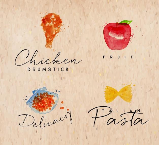 Acuarela etiqueta pasta kraft