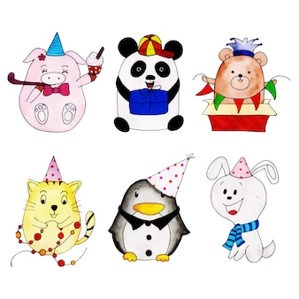 Acuarela feliz cumpleaños colección de dibujos animados lindo