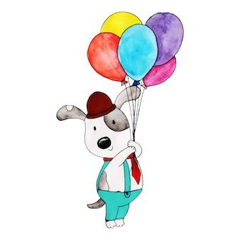 Acuarela feliz cumpleaños panda lindo de dibujos animados
