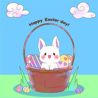 Acuarela feliz día de pascua con conejito en la cesta