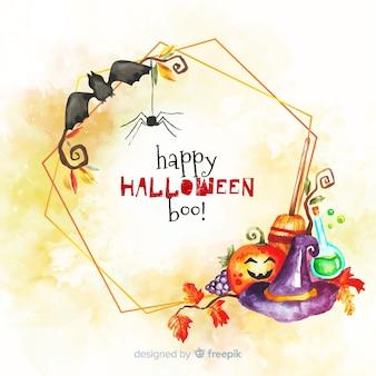 Acuarela feliz halloween boo! marco