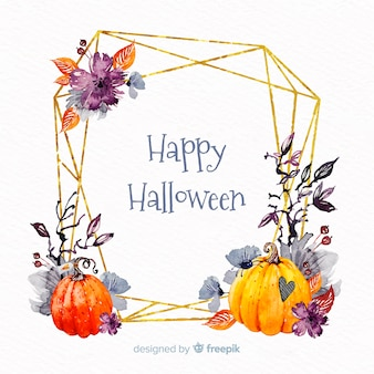 Acuarela feliz halloween marco