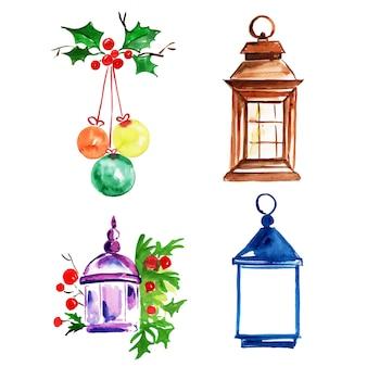 Acuarela feliz navidad elementos colección