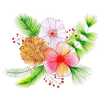 Acuarela feliz navidad floral bouquet