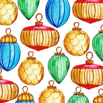 Acuarela feliz navidad patrón de fondo