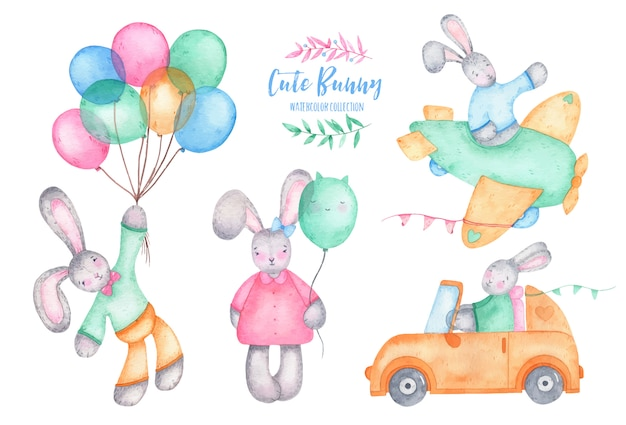 Acuarela feliz pascua lindo conejito con globos de aire en coche y avión