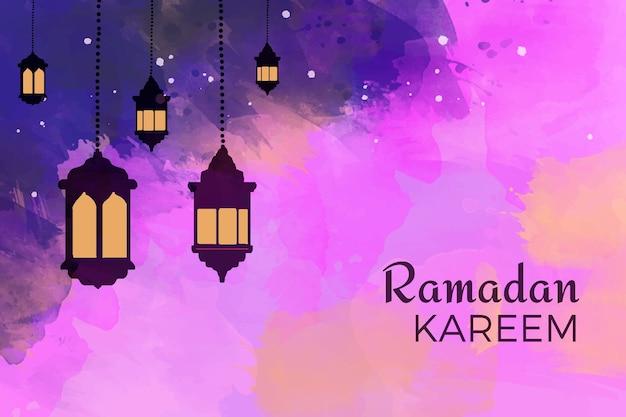 Acuarela feliz ramadan kareem con velas