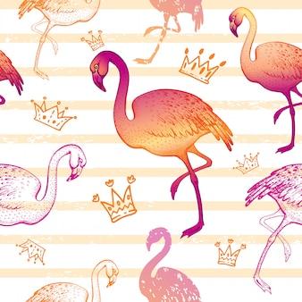 Acuarela flamingo de patrones sin fisuras