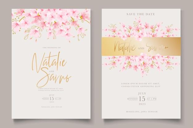 Acuarela flor de cerezo floral y hojas conjunto de tarjetas