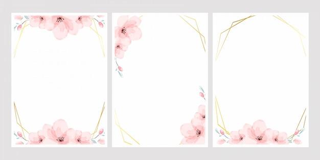 Acuarela de flor de cerezo con marco dorado para la tarjeta de invitación de boda