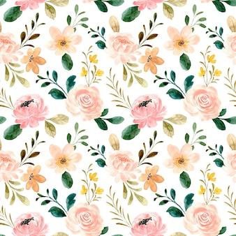 Acuarela flor color de rosa de patrones sin fisuras