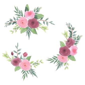 Acuarela, flor, guirnalda clipart