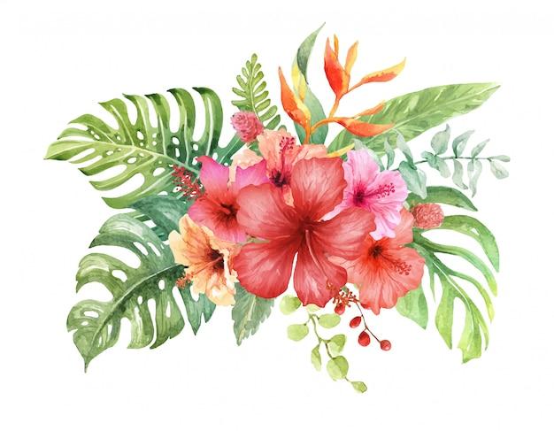 Acuarela flor de hibisco en ramo tropical.