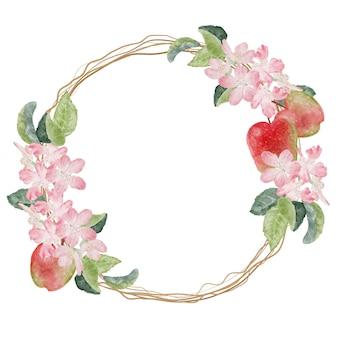 Acuarela flor de manzana y marco de guirnalda de frutas maduras con espacio de copia de texto aislado sobre fondo blanco.