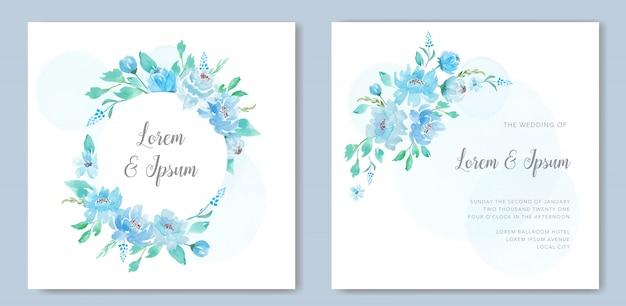 Acuarela floral azul para invitación de boda