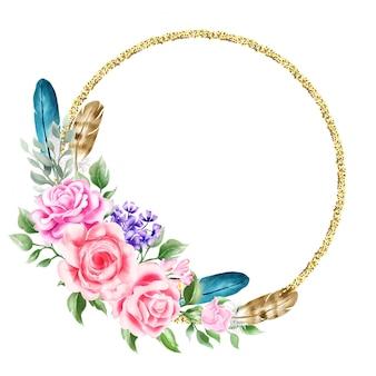 Acuarela floral boho corona ilustración boda