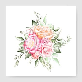 Acuarela floral bouquet diseño tarjeta