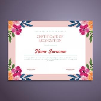 Acuarela floral certificado plantilla de diseño