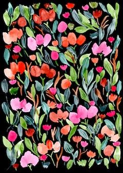 Acuarela floral con fondo oscuro