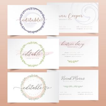 Acuarela floral corona diseños de logotipo
