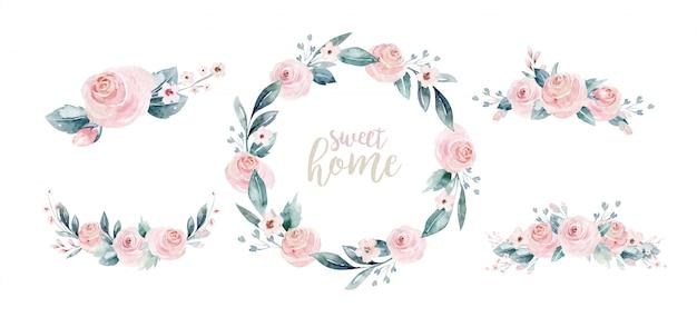 Acuarela floral corona y letras, dulce hogar