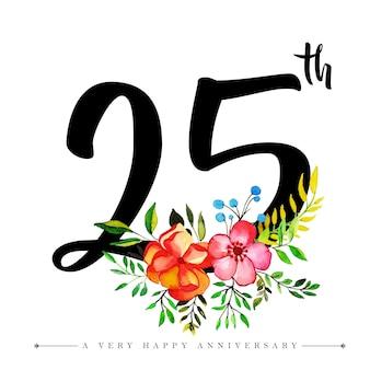 Acuarela floral feliz aniversario número 25