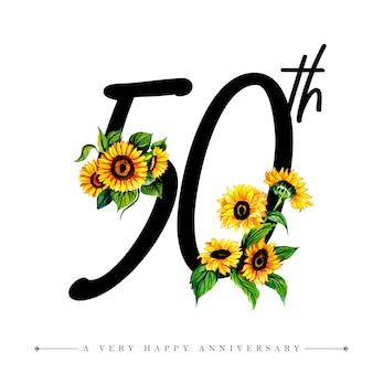 Acuarela floral feliz aniversario número 50