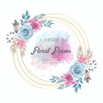 Acuarela floral flores círculo marco dorado vintage