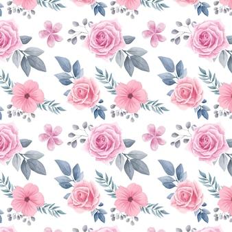 Acuarela floral flores de fondo sin fisuras patrón