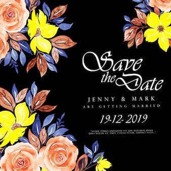 Acuarela floral fondo de invitación de boda 3