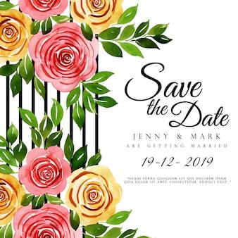 Acuarela floral fondo de invitación de boda