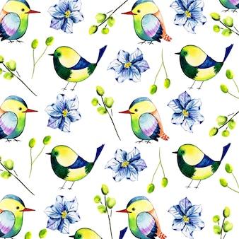 Acuarela floral y fondo de patrón de aves