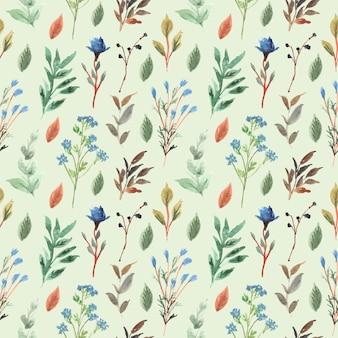 Acuarela floral y hoja de patrones sin fisuras