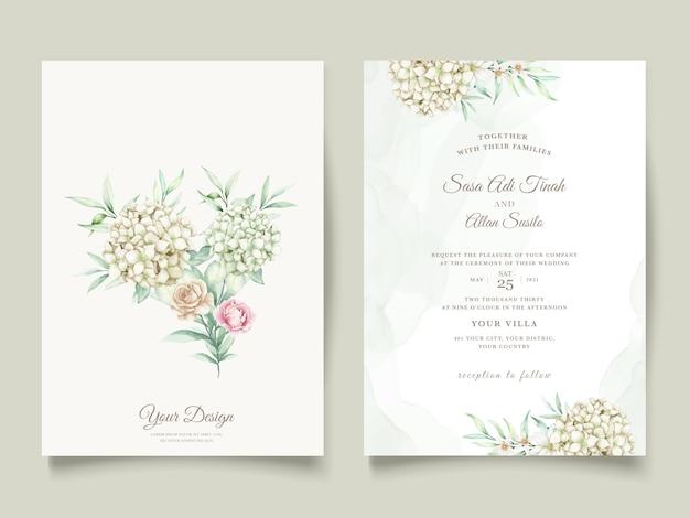 Acuarela floral y hojas conjunto de tarjeta de invitación de boda