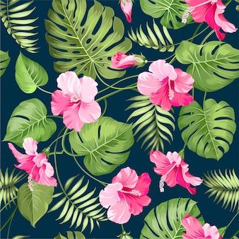 Acuarela floral hojas de fondo sin fisuras patrón
