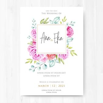 Acuarela floral y hojas invitación de boda.