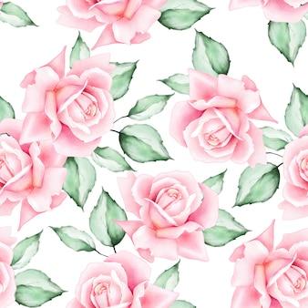 Acuarela floral hojas de patrones sin fisuras