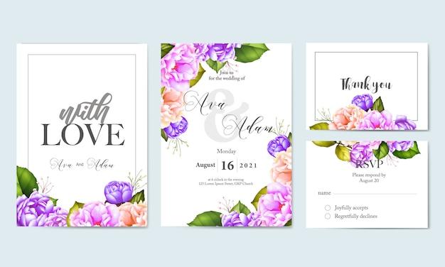 Acuarela floral hojas plantilla de tarjeta de boda