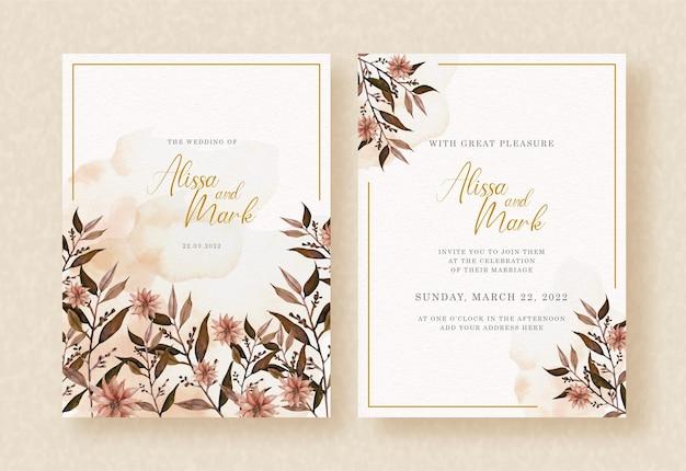 Acuarela floral en invitación de boda