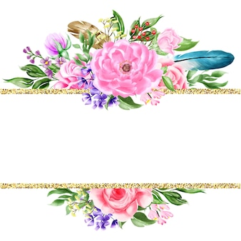 Acuarela floral marco bohemio frontera
